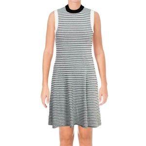 Aqua B/W Knit Sleeveless Fit & Flare Mini Dress